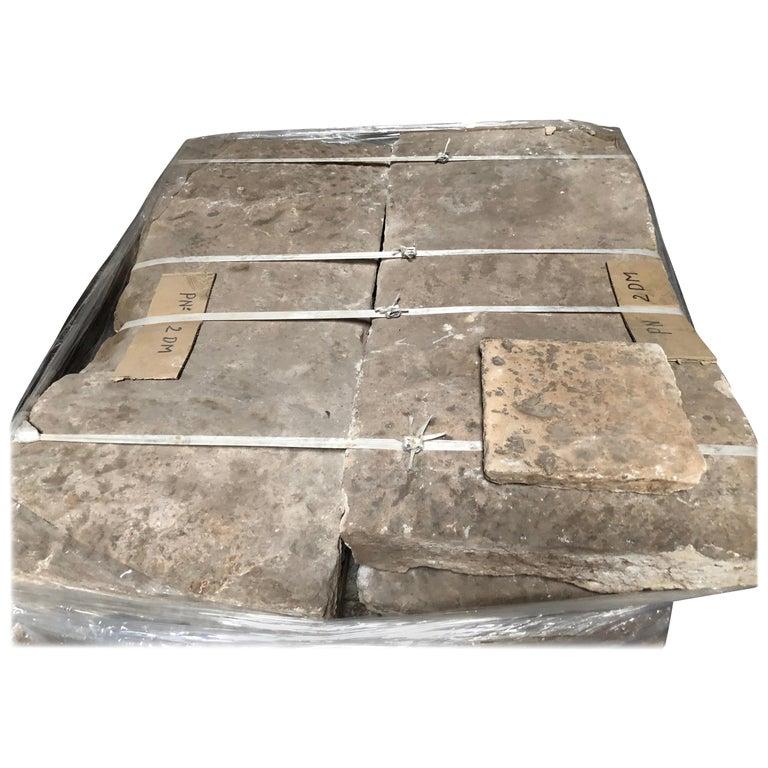 Opus Roman Solid Antique Limestone Flooring, 17th Century For Sale
