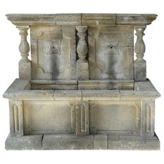 Italian Wall Fountain 3 Columns Handcrafted Limestone, Late 20th Century, Italy