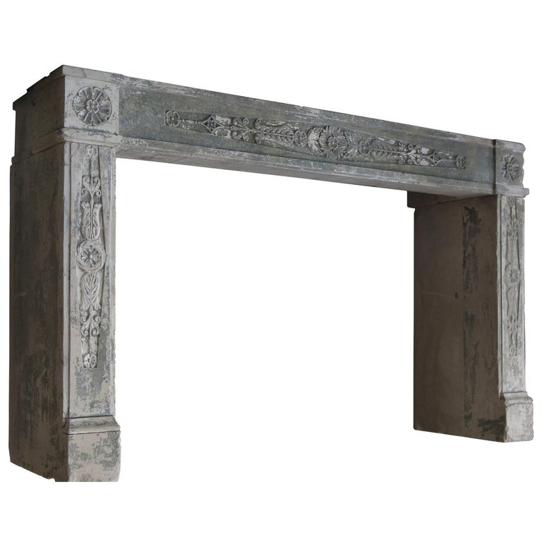 Normandy French Limestone Fireplace, Louis XVI Period, 18th Century, France For Sale