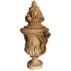 Renaissance Mediterranean Style Urns in Terra Cotta, Late 20th Century