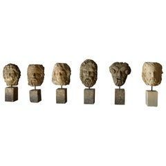 Collection of 6 Gods Head Statues Handcrafted in Limestone, Late 20th Century