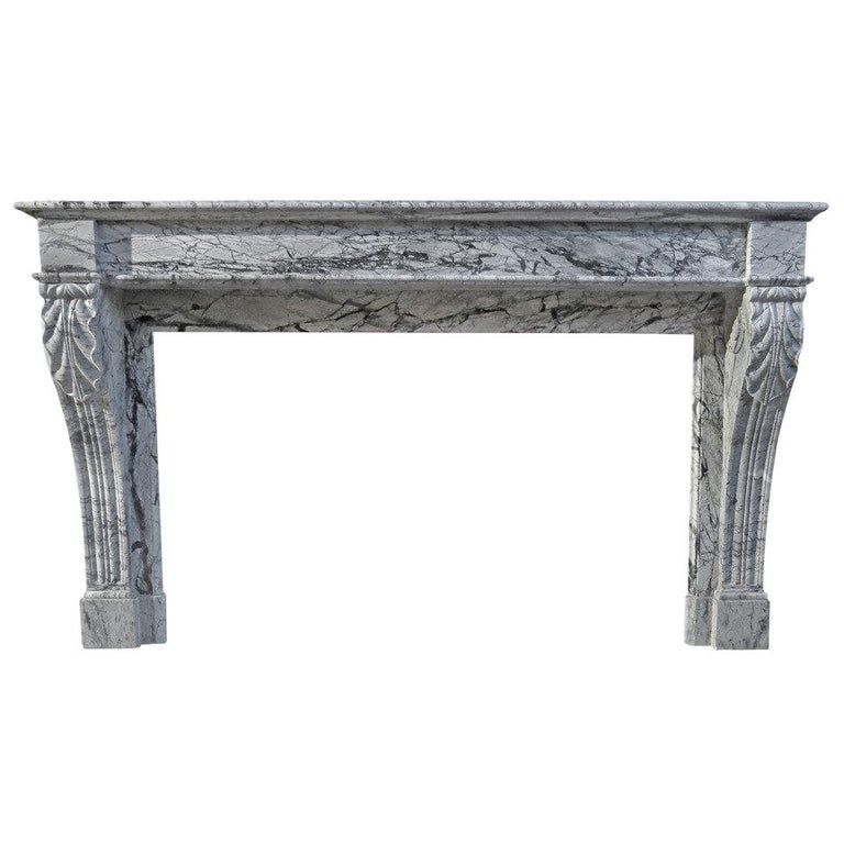 French Antique Marble Fireplace 19th Century from Paris, France For Sale