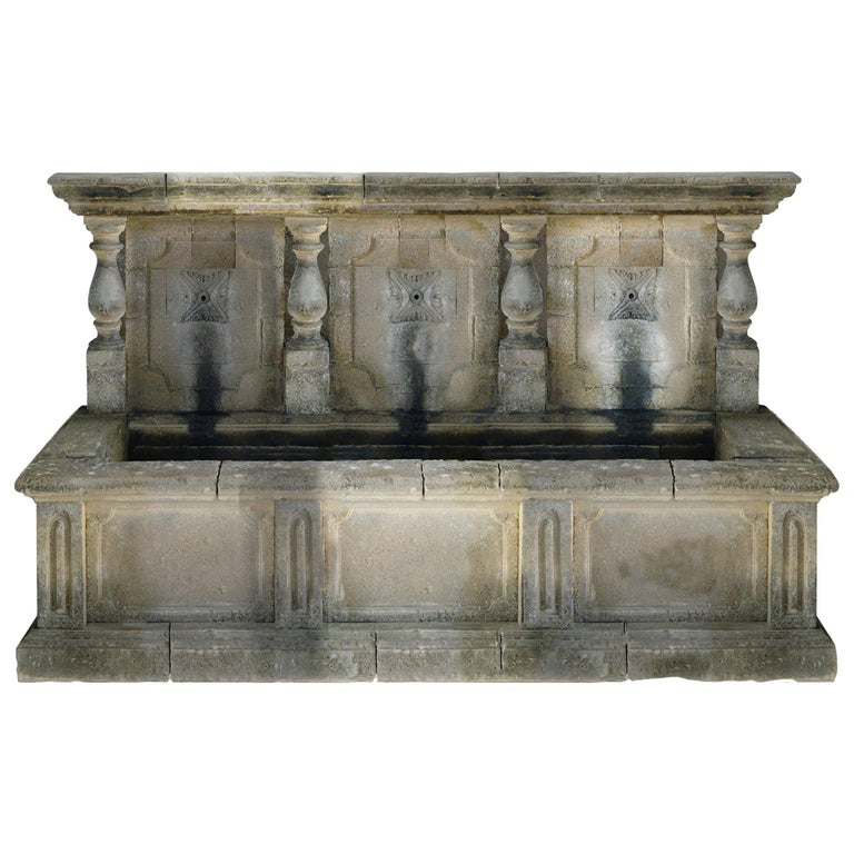 Italian Wall Fountain Handcrafted Limestone, Late 20th Century, Italy For Sale