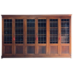 Antique Arts & Crafts Bookcase Early 20th Century Solid Oak Six-Door, circa 1920