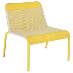 Yellow Braided Resin French Design and Lounge Armchair
