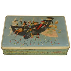 1950s Vintage Italian Carnival Edition Screen Printed Pavesi Biscuits Tin Box
