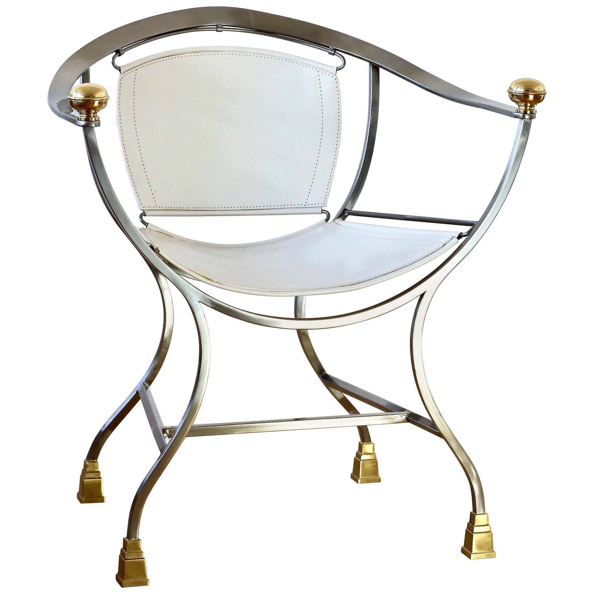 """Alberto Orlandi """"Pompeii"""" Italian Set of Four Leather Armchairs in Steel & Brass"""