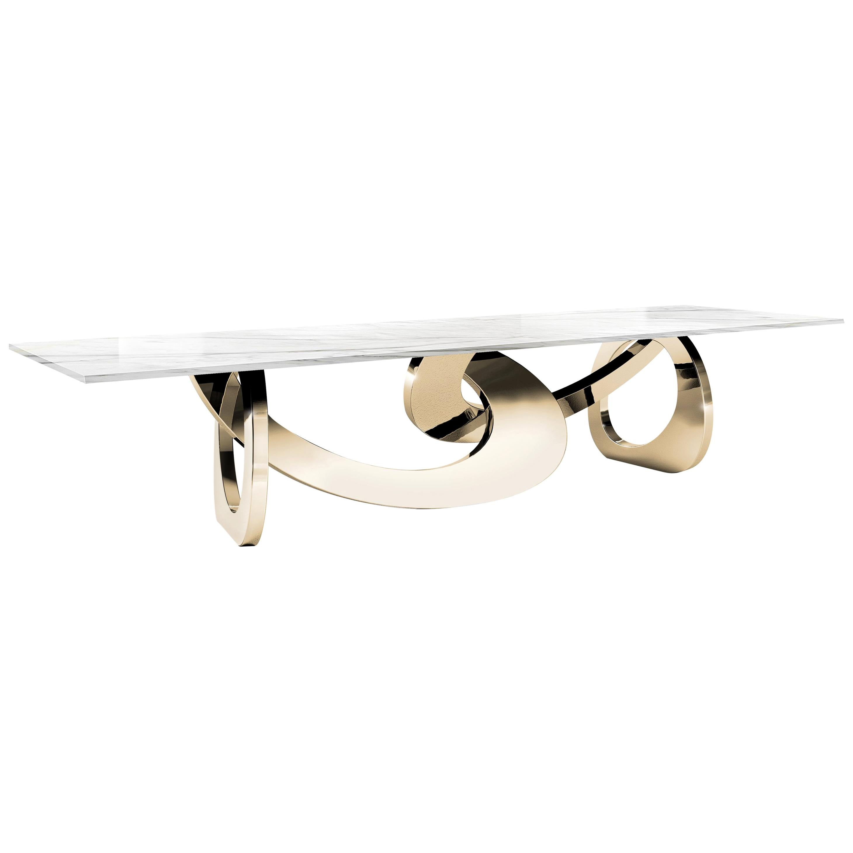 Dining Table Rectangular White Marble Gold Steel Italian Contemporary Design