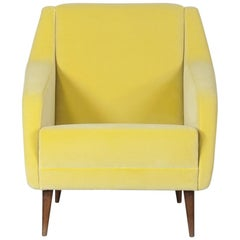 "Carlo de Carli Yellow Velvet Armchair Model ""802"", 1955"
