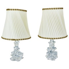 Two Charles Schneider Crystal Glass Table Lamps and Original Fabric Shades 1960s