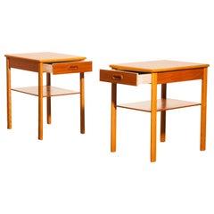 Pair of Teak Bedside Tables by Säffle, Sweden, 1950s