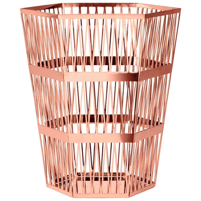 Ghidini 1961 Tip Top Small Paper Basket in Rose Gold by Richard Hutten For Sale