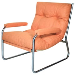 Pair of 1970s Bauhaus Style Tubular Steel Cantilever Sling Chairs
