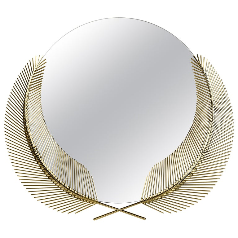 Ghidini 1961 Sunset Small Mirror in Brass by Nika Zupanc For Sale