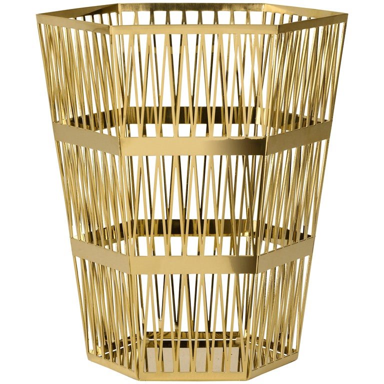 Ghidini 1961 Tip Top Large Paper Basket in Gold by Richard Hutten For Sale