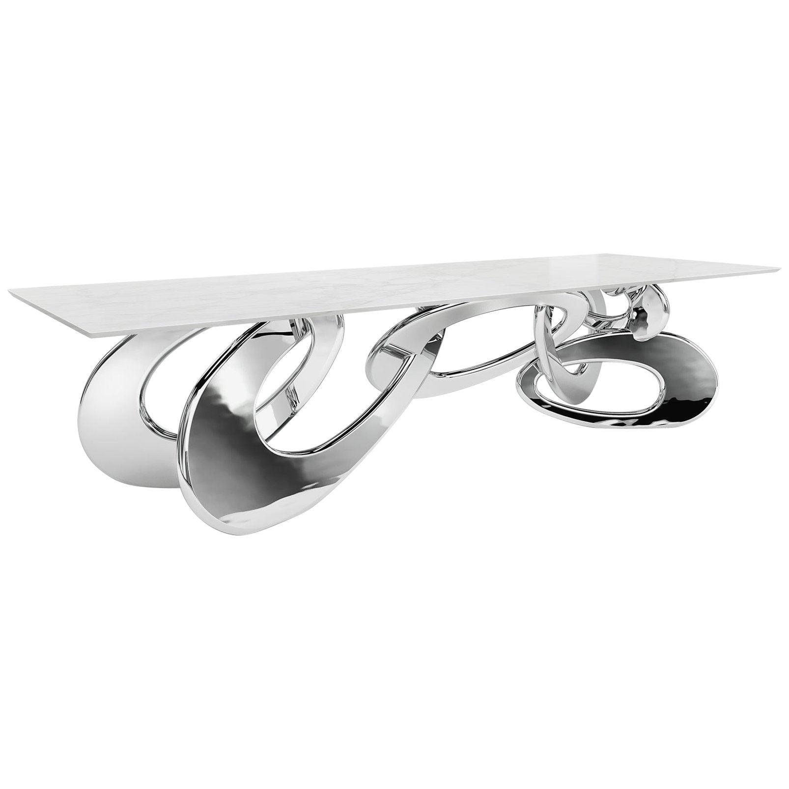 Dining Table Modern Rectangular Steel White Marble Italian Design