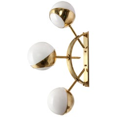 Triple Orb Brass and Opal Glass Wall Lights in the Style of Stilnovo