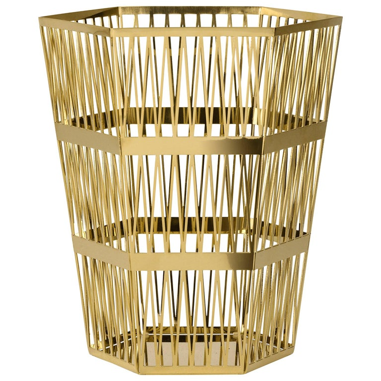 Ghidini 1961 Tip Top Small Paper Basket in Gold by Richard Hutten For Sale