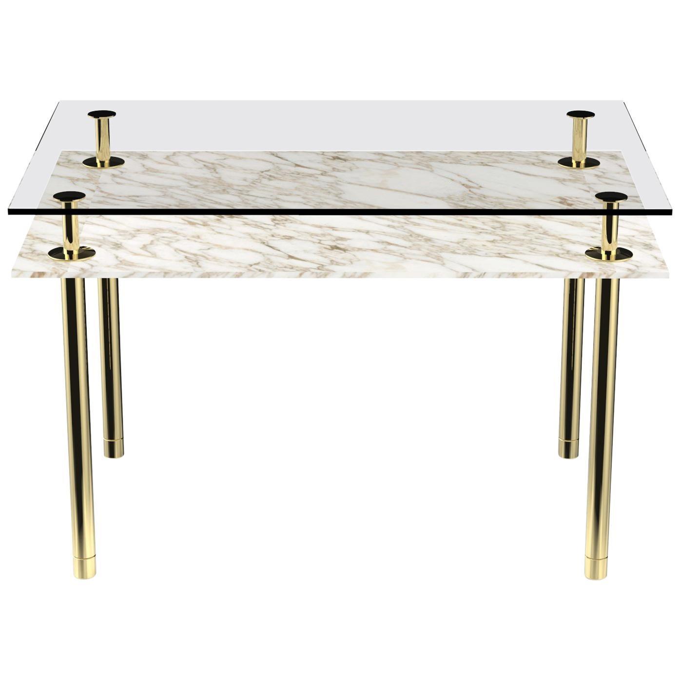 Ghidini 1961 Legs Rectangular Console Table in Calacatta Gold by Paolo Rizzatto