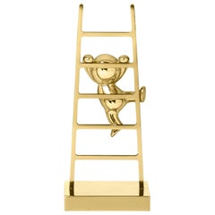 Ghidini 1961 Omini the Climber Clips Holder in Brass by Stefano Giovannoni