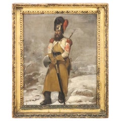 19th Century Italian Oil Painting on Canvas Portrait of a Official Soldier