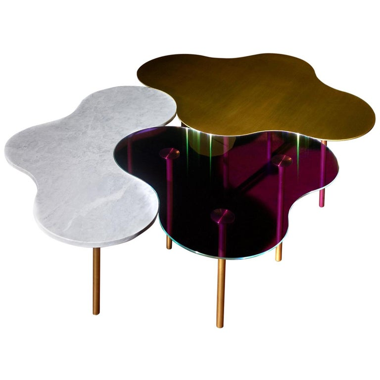 Brass Coffee Table Ensemble of 3-Sebastian Scherer For Sale