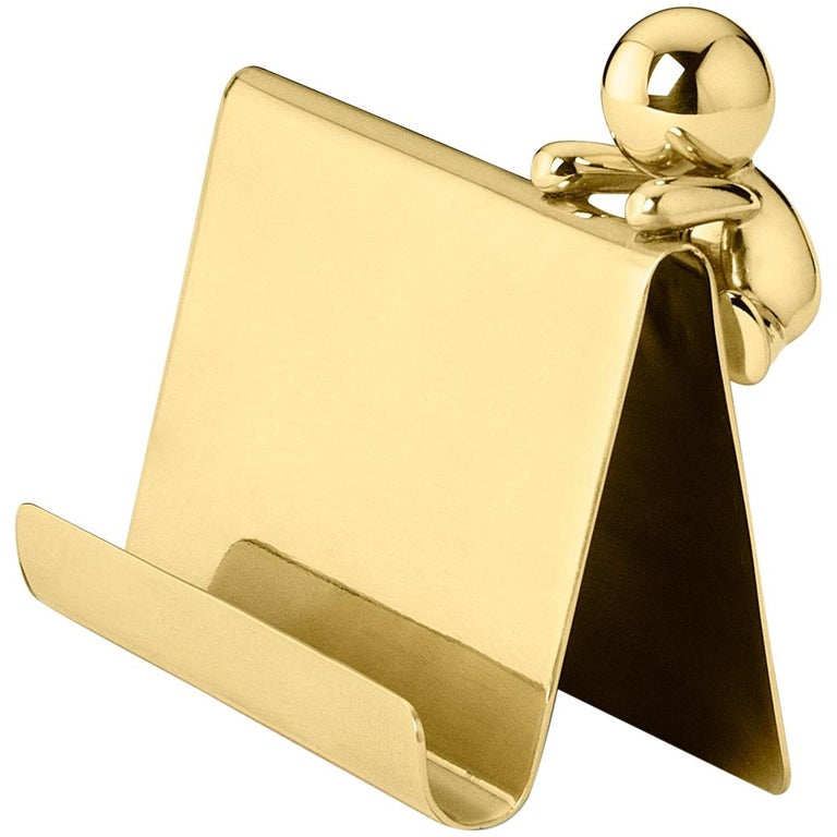 Ghidini 1961 Omini Cards Holder in Polished Brass by Stefano Giovannoni For Sale