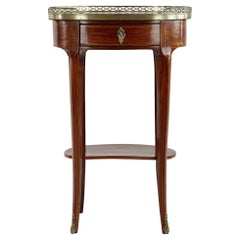 French Rosewood Side Table with Marble Top and 1 Drawer, 1870-1880