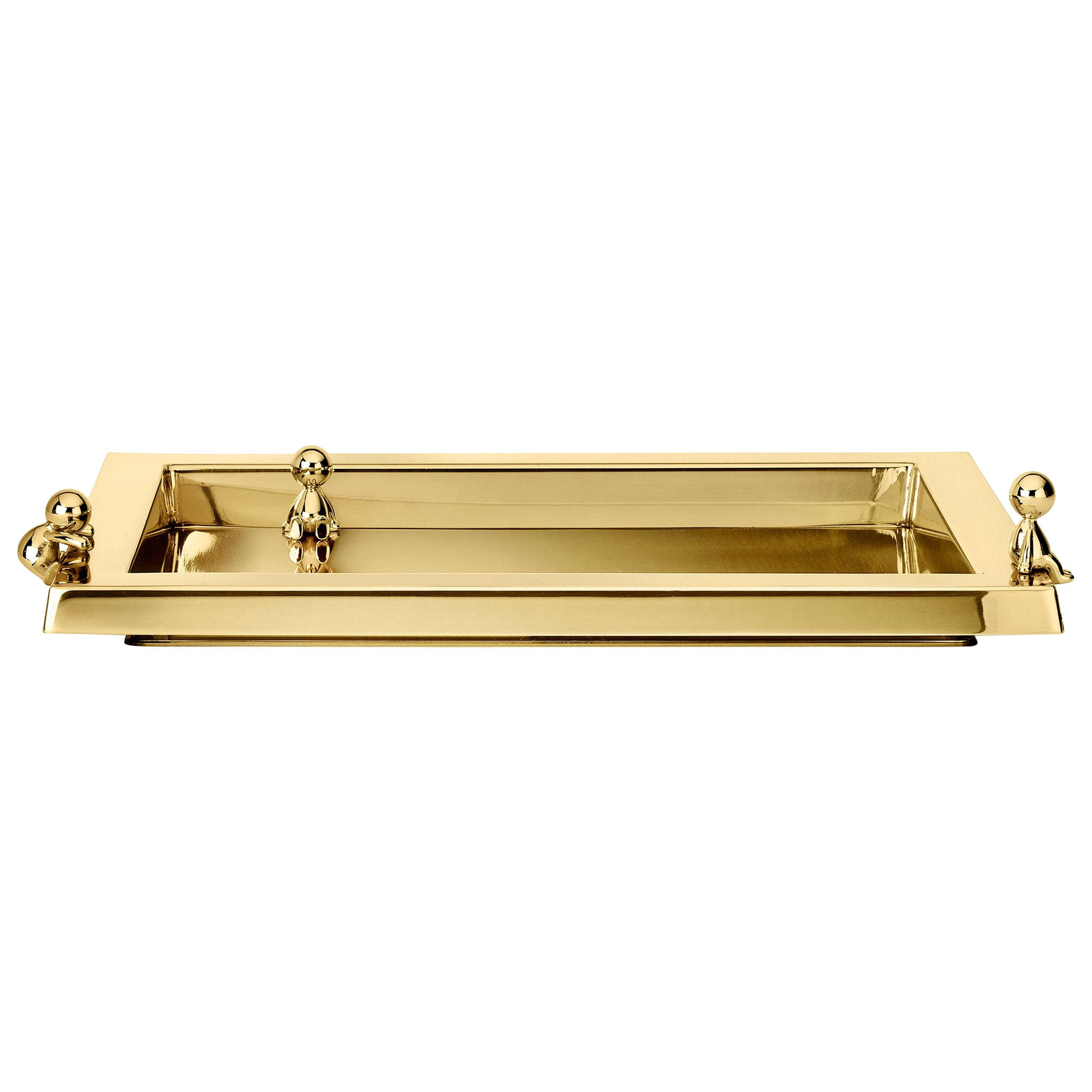 Ghidini 1961 Omini Serving Tray in Gold by Stefano Giovannoni