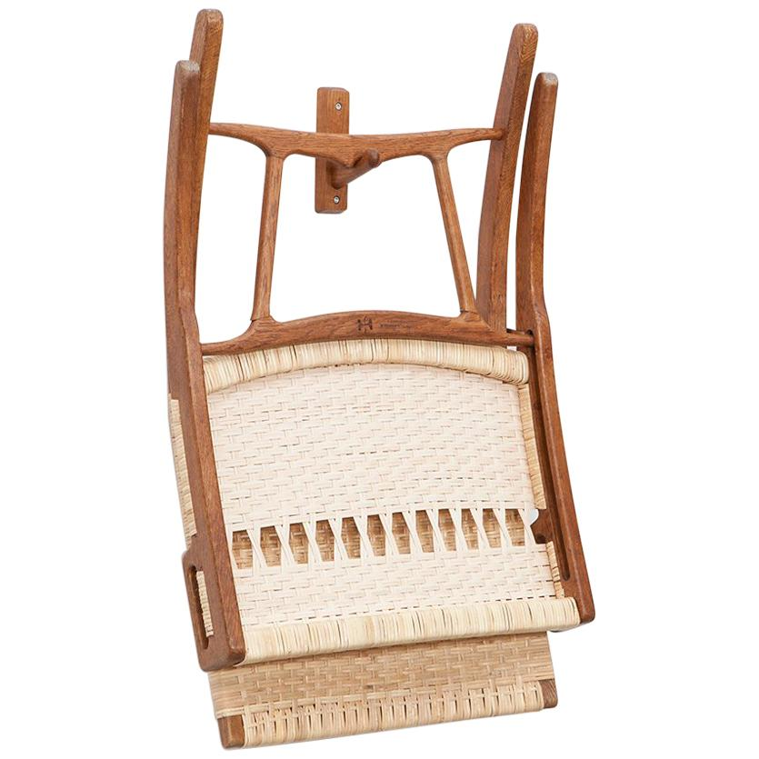 1940s Brown Oak and White Cane Folding Chair by Hans Wegner