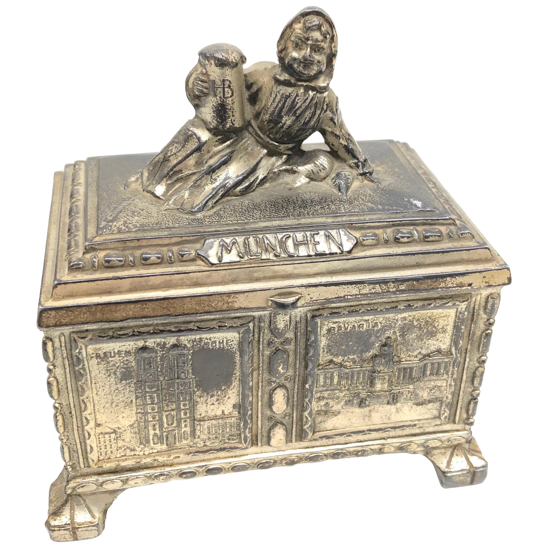 Gorgeous Munich Child Souvenir Metal Trinket Jewelry Box Antique German 1920s