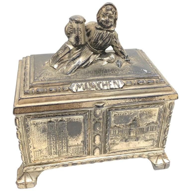 Gorgeous Munich Child Souvenir Metal Trinket Jewelry Box Antique German 1920s For Sale