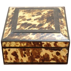 20th Century Italian Wooden Object Box with Tortoise Decoration