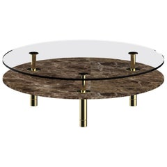 Ghidini 1961 Legs Round Coffee Table in Emperador Dark by Paolo Rizzatto