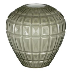 Vase Marostica Multifaceted, Muranese Glass, Gray Color, Italy