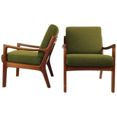 Pair of Ole Wanscher Senator Lounge Chairs, Model 169, Denmark, 1950s