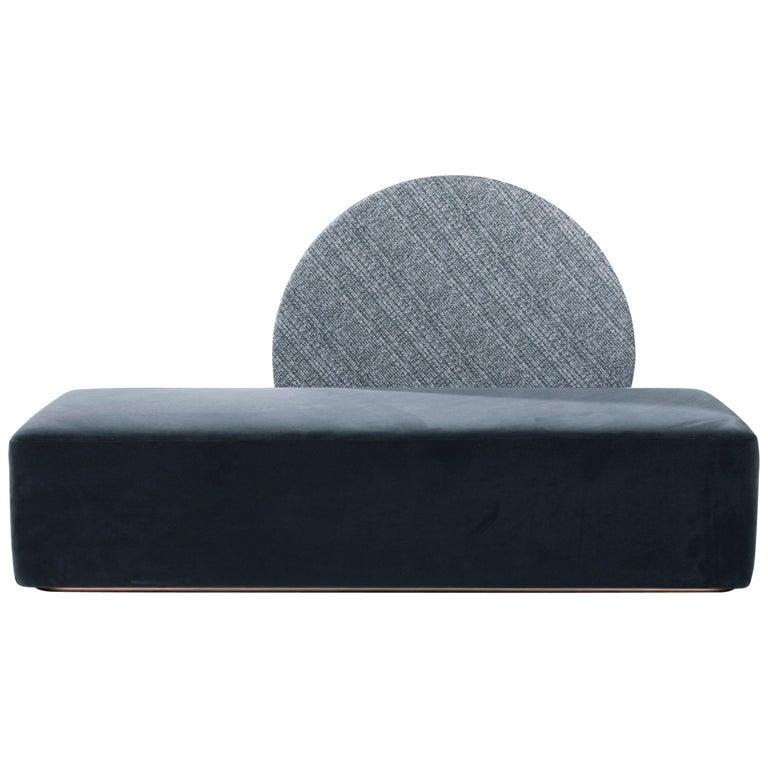 Horizon Sofa Velvet Upholstery Brass Large Size For Sale