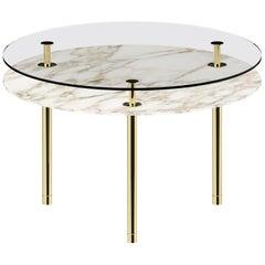 Ghidini 1961 Small Legs Round Table in Calacatta Gold by Paolo Rizzatto