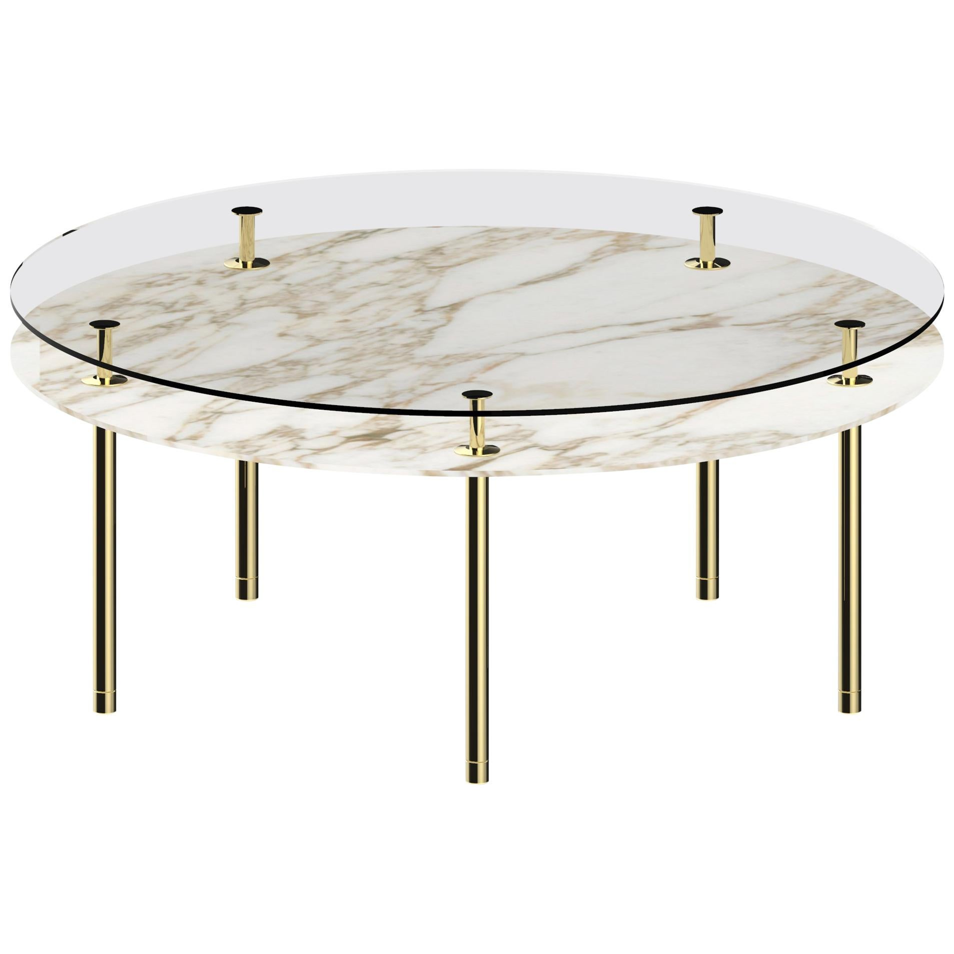 Ghidini 1961 Large Legs Round Table in Calacatta Gold by Paolo Rizzatto