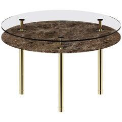 Ghidini 1961 Small Legs Round Table in Emperador Dark by Paolo Rizzatto