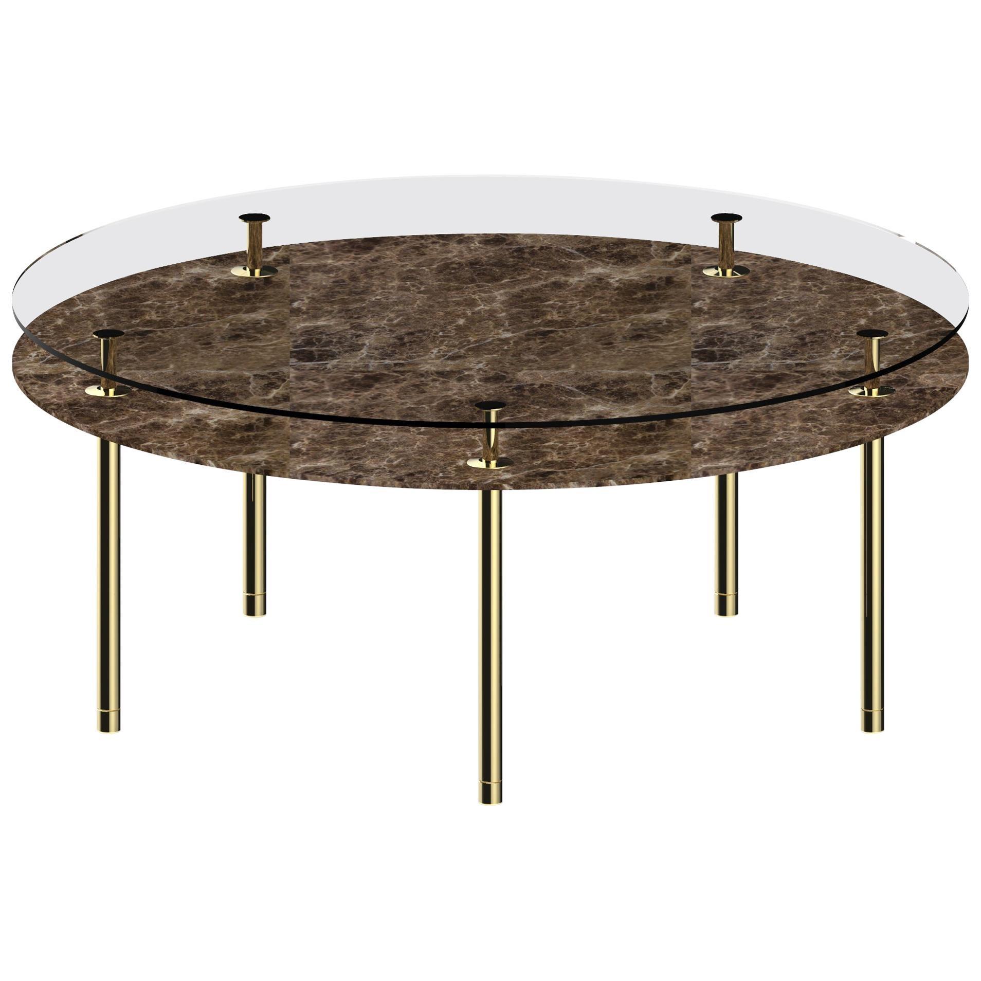 Ghidini 1961 Large Legs Round Table in Emperador Dark by Paolo Rizzatto