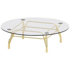 Ghidini 1961 Short Botany Round Coffee Table in Brass by Tomek Rygalik