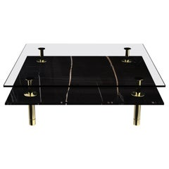 Ghidini 1961 Short Legs Squared Coffee Table in Sahara Noir by Paolo Rizzatto