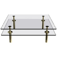 Ghidini 1961 Legs Squared Coffee Table in Brass and Crystal by Paolo Rizzatto