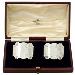 Antique Art Nouveau Style Boxed English Sterling Silver Napkin Rings