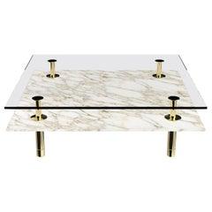 Ghidini 1961 Legs Squared Coffee Table in Calacatta Gold by Paolo Rizzatto
