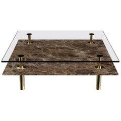 Ghidini 1961 Legs Squared Coffee Table in Emperador Dark by Paolo Rizzatto