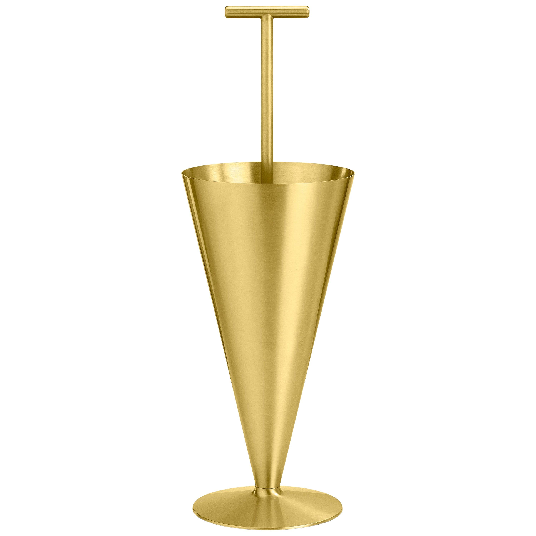 Ghidini 1961 Tumbrella Umbrella Stand in Satin Brass by Richard Hutten