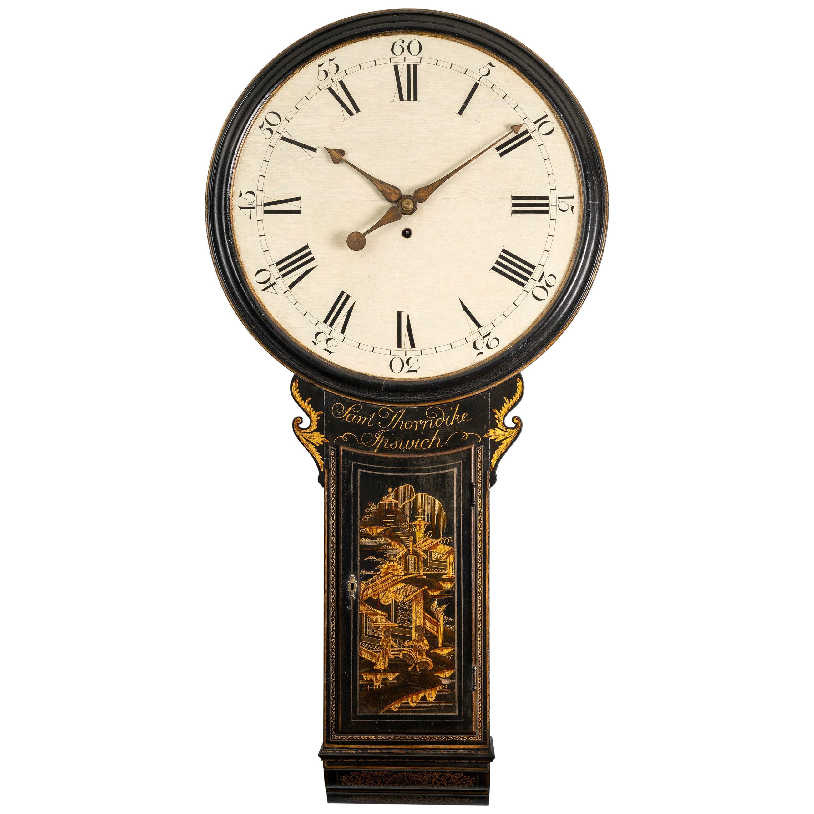 18th Century Antique Chinoiserie Tavern Clock by Samuel Thorndike of Ipswich