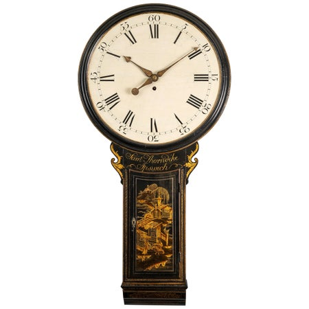 18th Century Antique Chinoiserie Tavern Clock by Samuel Thorndike of Ipswich